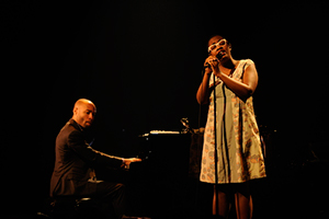 [The Aaron Diehl Trio featuring Cécile McLorin Salvant] Cécile McLorin Salvant and Aaron Diehl at L'Astral in Montreal; Photo by Victor Diaz Lamich