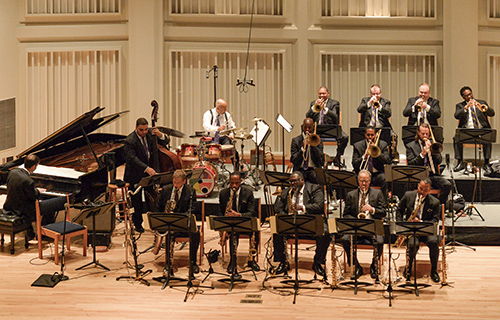 [Jazz at Lincoln Center Orchestra with Wynton Marsalis] Photo by Frank Stewart