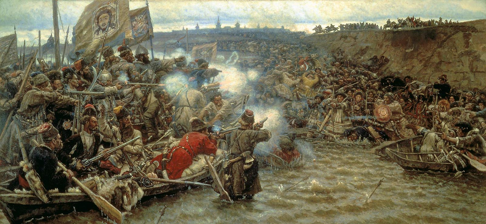 "[Program ThreeMusic Under Tsarist Autocracy] ""Surikov Pokoreniye Sibiri Yermakom"" by Vasily Ivanovich Surikov (1894); Wikimedia Commons."