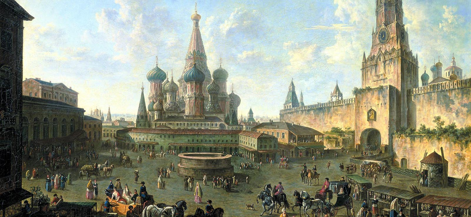 "[Program Five: Moscow/St. Petersburg] ""Red Square in Moscow"" by Fedor Alekseev (1801); Wikimedia Commons."