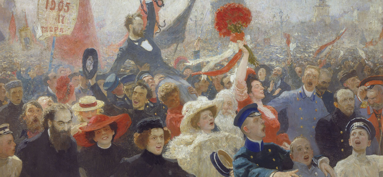 [Panel Two: From the Romanovs to the Revolution: Art and Politics in Russia] Demonstration on October 17, 1905 by Ilya Repin. Wikimedia Commons