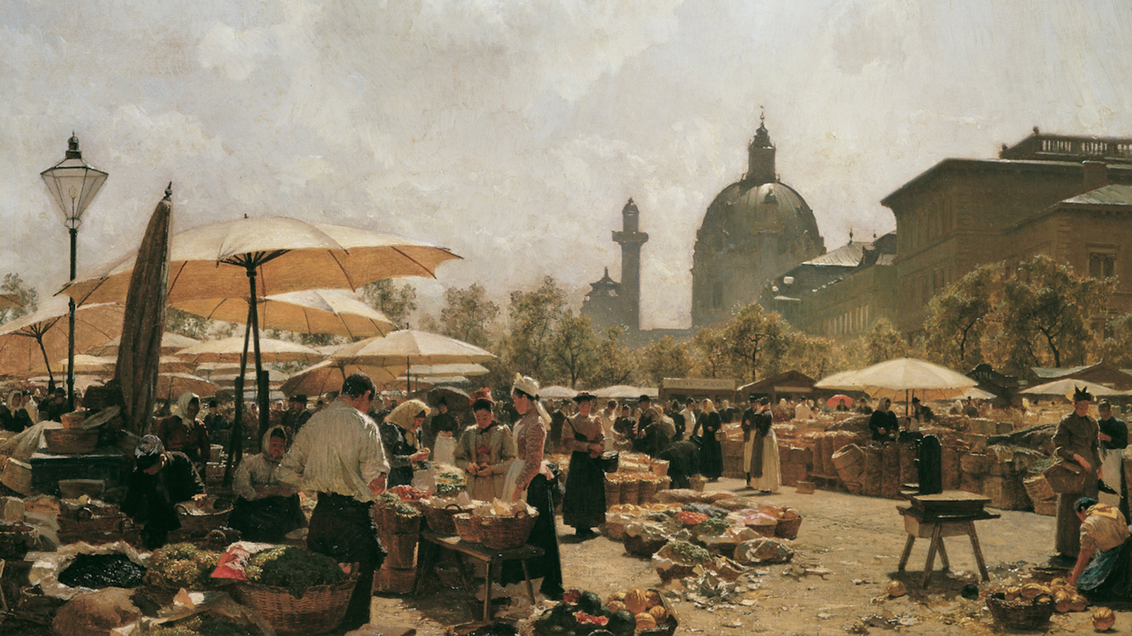 "[Program Five: Before the Reich: Korngold and Fellow Conservatives] ""Der Naschmarkt in Wien"" by Carl Moll, 1894; Wikimedia Commons"
