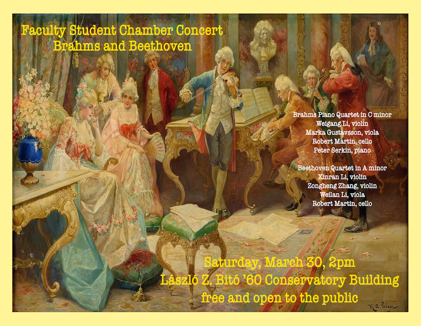 Faculty Student Chamber Music Concert: Brahms and Beethoven,<strong>&nbsp;</strong>with Weigang Li, Marka Gustavsson, Robert Martin, and Peter Serkin