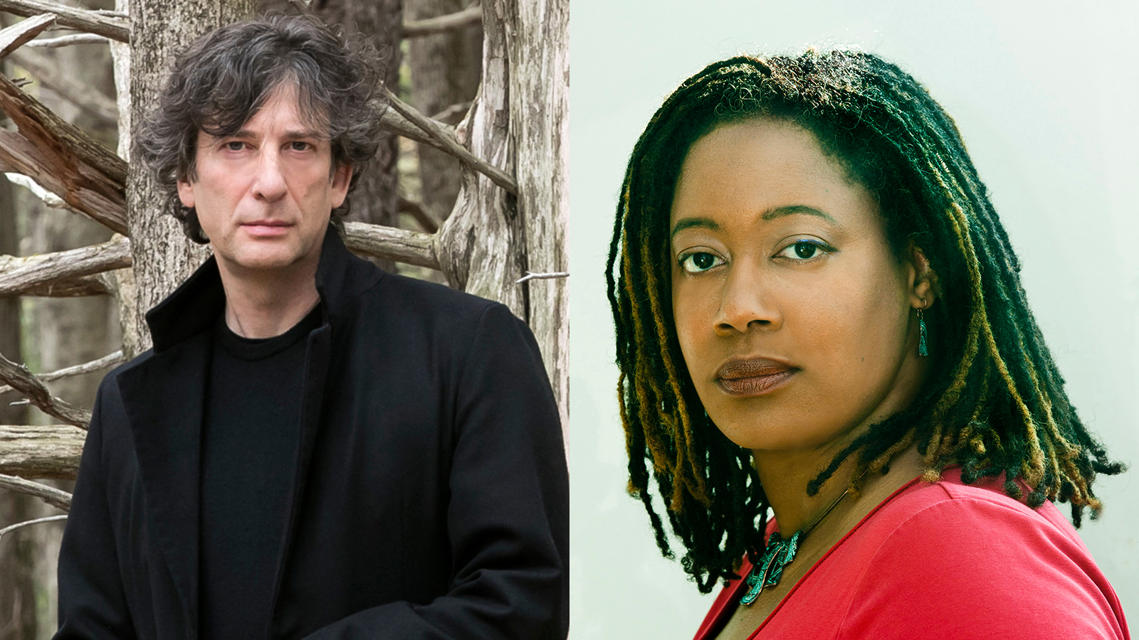 [LIVE WEBCAST: Neil Gaiman In Conversation with N. K. Jemisin] Neil Gaiman by Beowulf Sheehan; N. K. Jemisin by Laura Hanifin