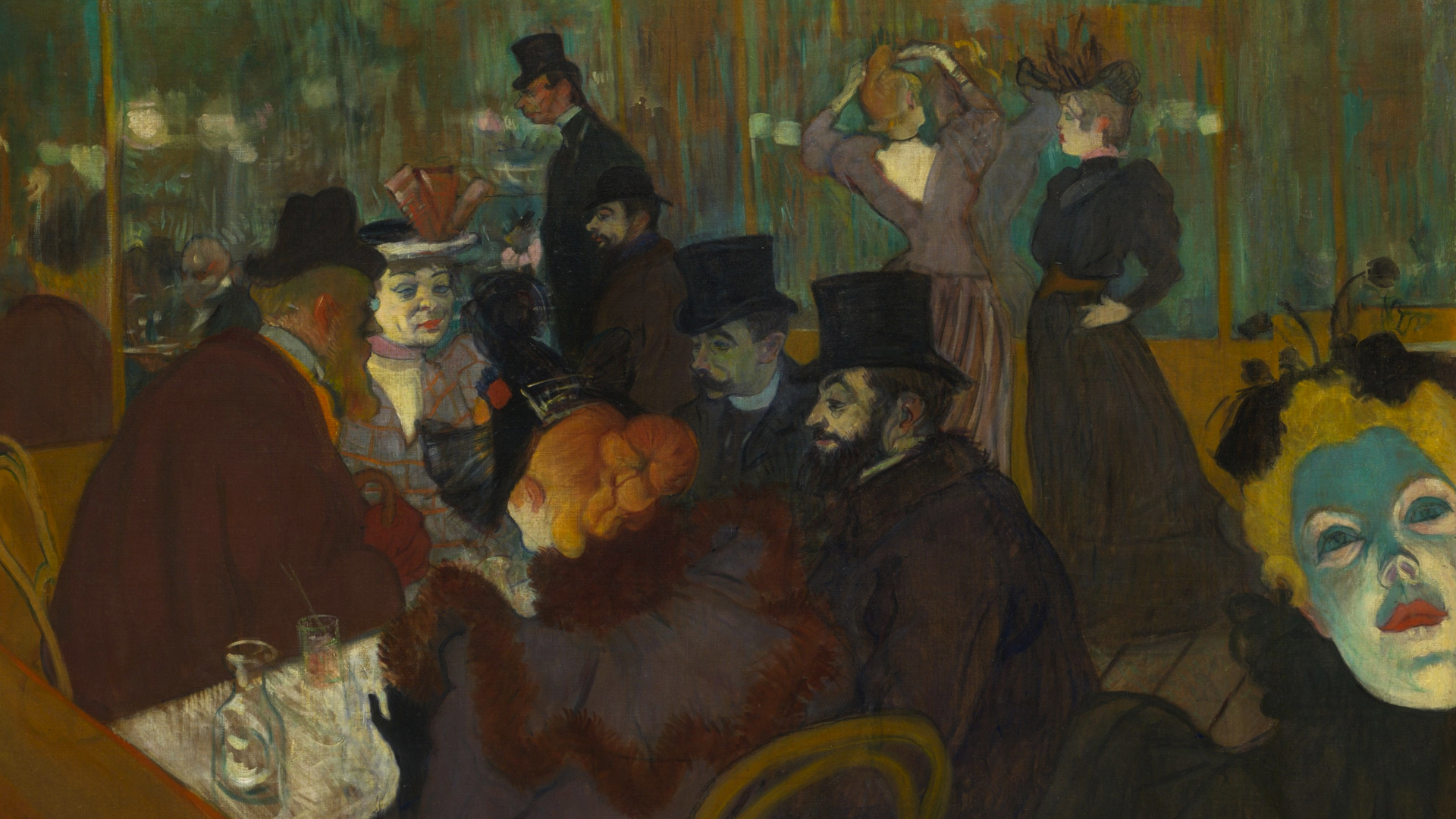 """[Songs From The Real World: The French Cabaret] """"At the Moulin Rouge"""" by Henri de Toulouse-Lautrec; Wikimedia Commons"""