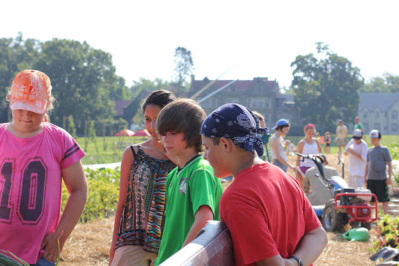Middle schoolers visit the Bard Farm for Science Day.
