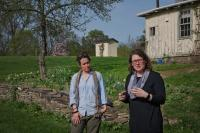 Emily Majer '95 and Gretta Tritch Roman talking about the A.J. Davis Farmhouse at Montgomery Place: A Window on the World of Alexander Jackson Davis' Architecture and Design, Spring 2018 Salon Series. April 14 – May 5, 2018. Photo by Chris Kendall.