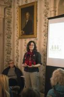 Bard College Biology Professor Felicia Keesing gives a lecture on tick-borne illnesses as part of the Hudson Valley Climate Salon Series at Montgomery Place. Photo by Jackson Siegal '18.