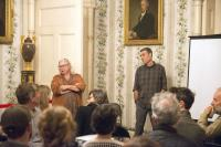 Orchardist Elizabeth Ryan and Bard College Research Professor Gidon Eshel lead a discussion about the impact of climate change on agriculture as part of the Hudson Valley Climate Salon Series at Montgomery Place. Photo by Jackson Siegal '18.