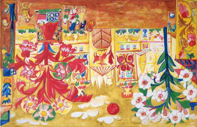 Natalia Goncharova, Stage Design for Act I, Le Coq d'Or, 1914