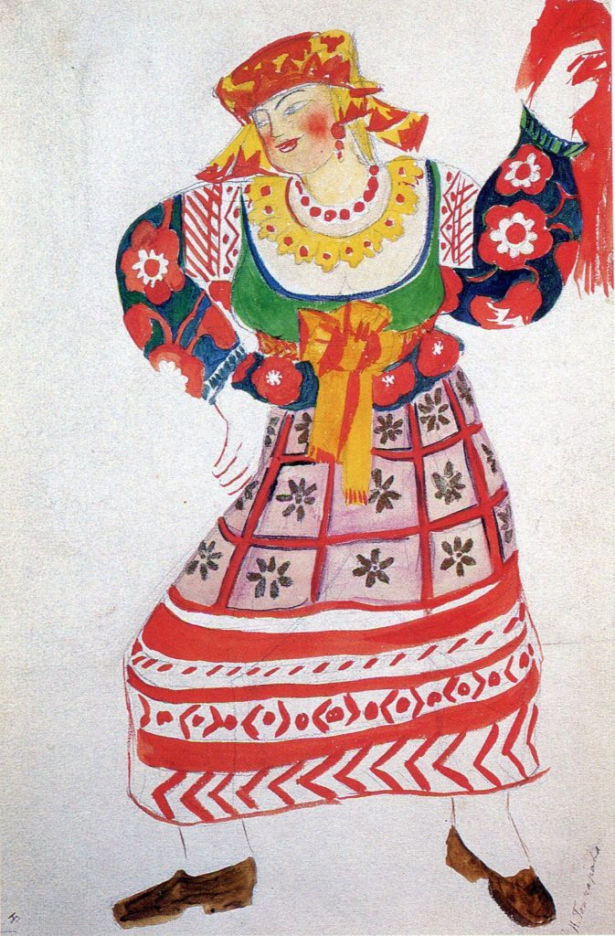 Natalia Goncharova, Costume Design, Chambermaid, Le Coq d'Or, 1914
