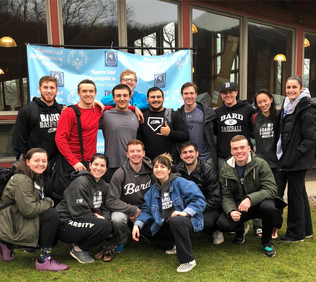 Bard College students participating in the 2018 Polar Plunge.