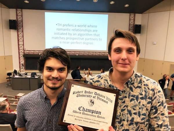 Huber Tournament winners Matt Caito '20 and Templeton Kay '19 of the Bard Debate Union