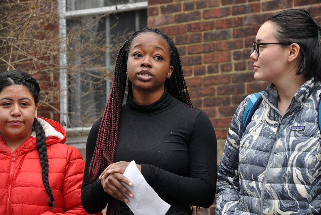 Students in Professor Armstead's Inclusion at Bard course speak at the historical marker dedicated to John Aspinwall.