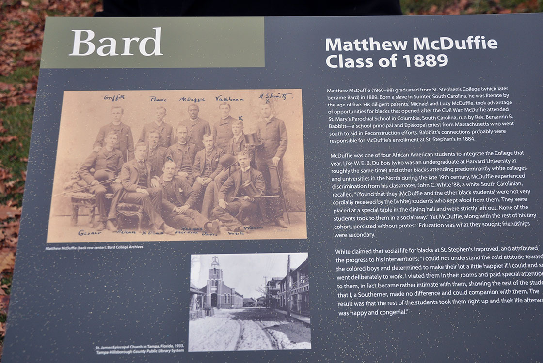 Historical marker near the Bard Chapel honoring Matthew McDuffie, Class of 1889.