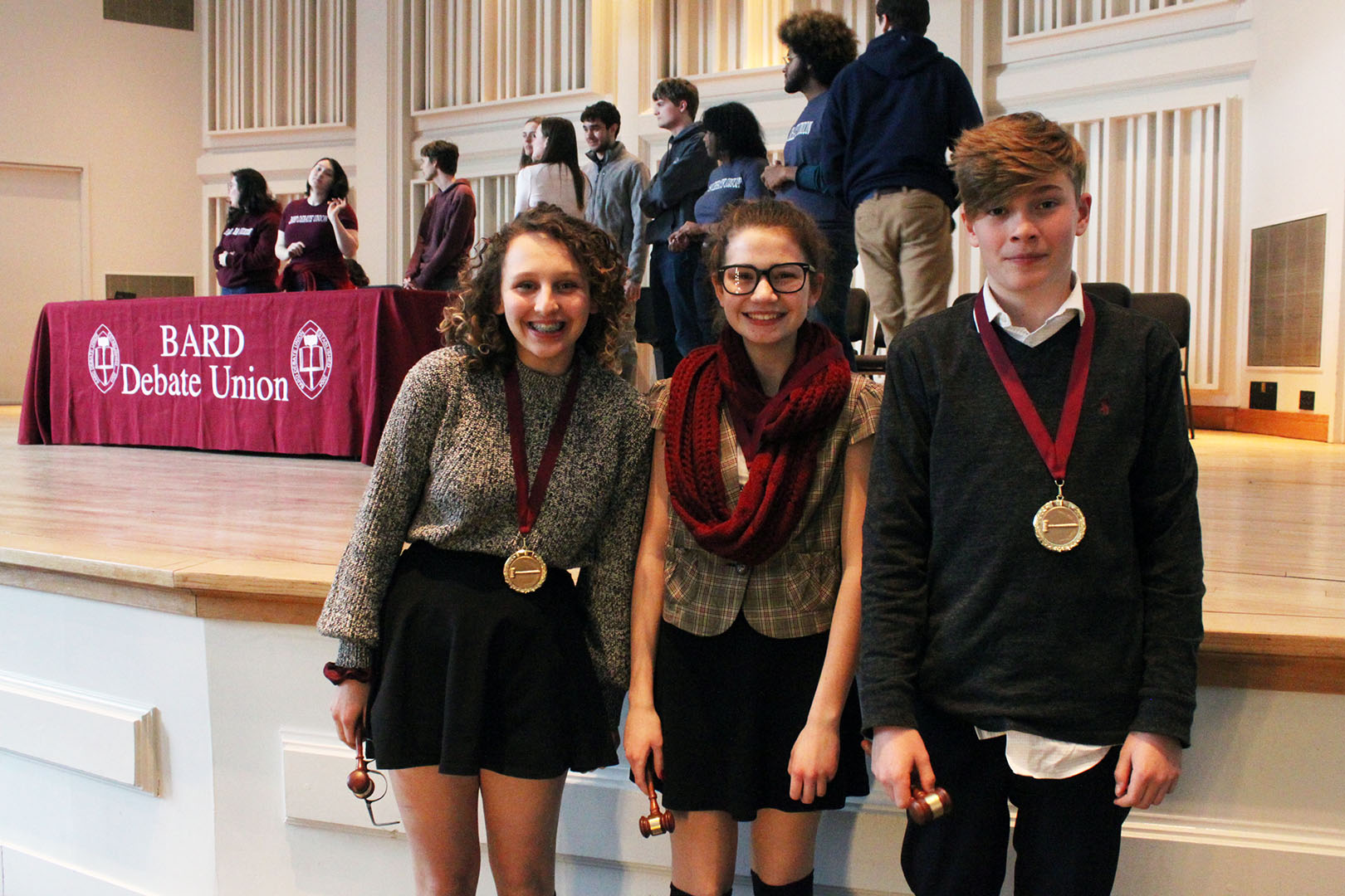 Top competitors at Bard College's Eighth Annual Middle and High School Debate Tournament received medals and gavels at the closing awards ceremony.