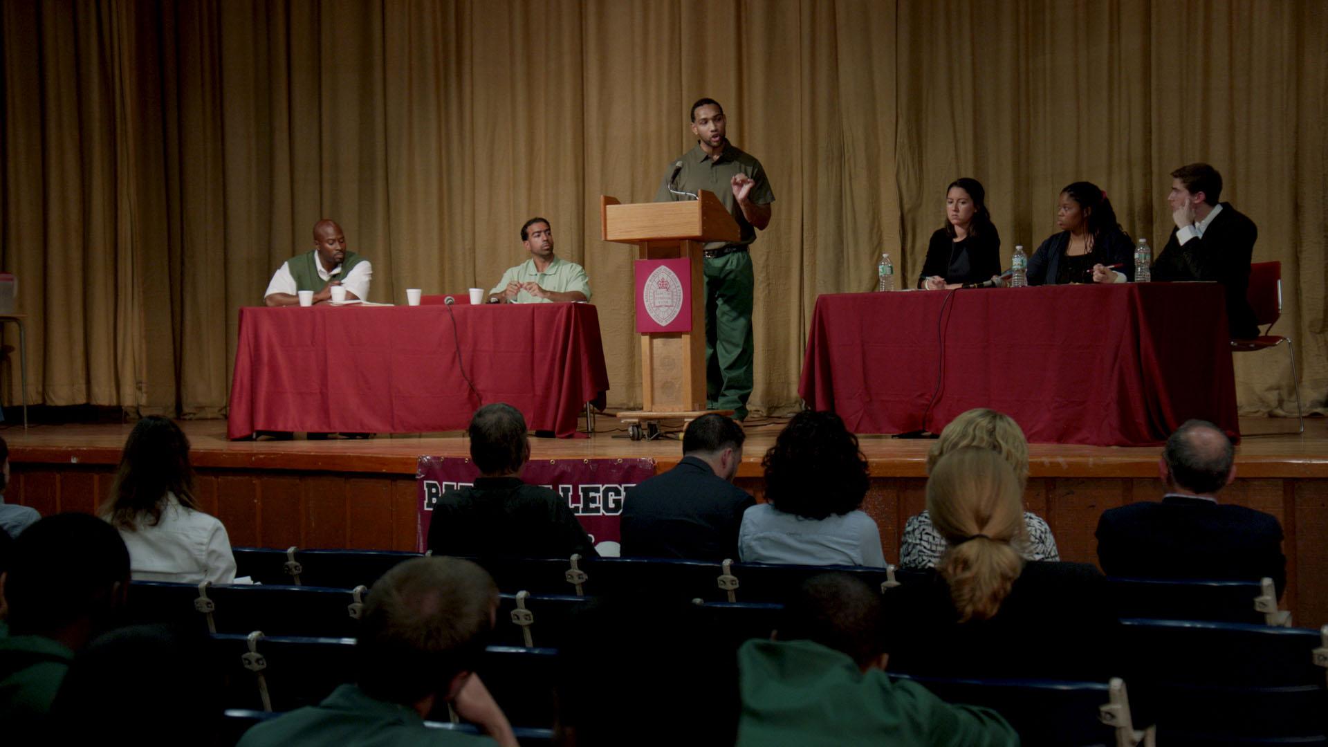 Bard Prison Initiative (BPI) Debate Union defeats Harvard University in September, 2015. (Skiff Mountain Films)