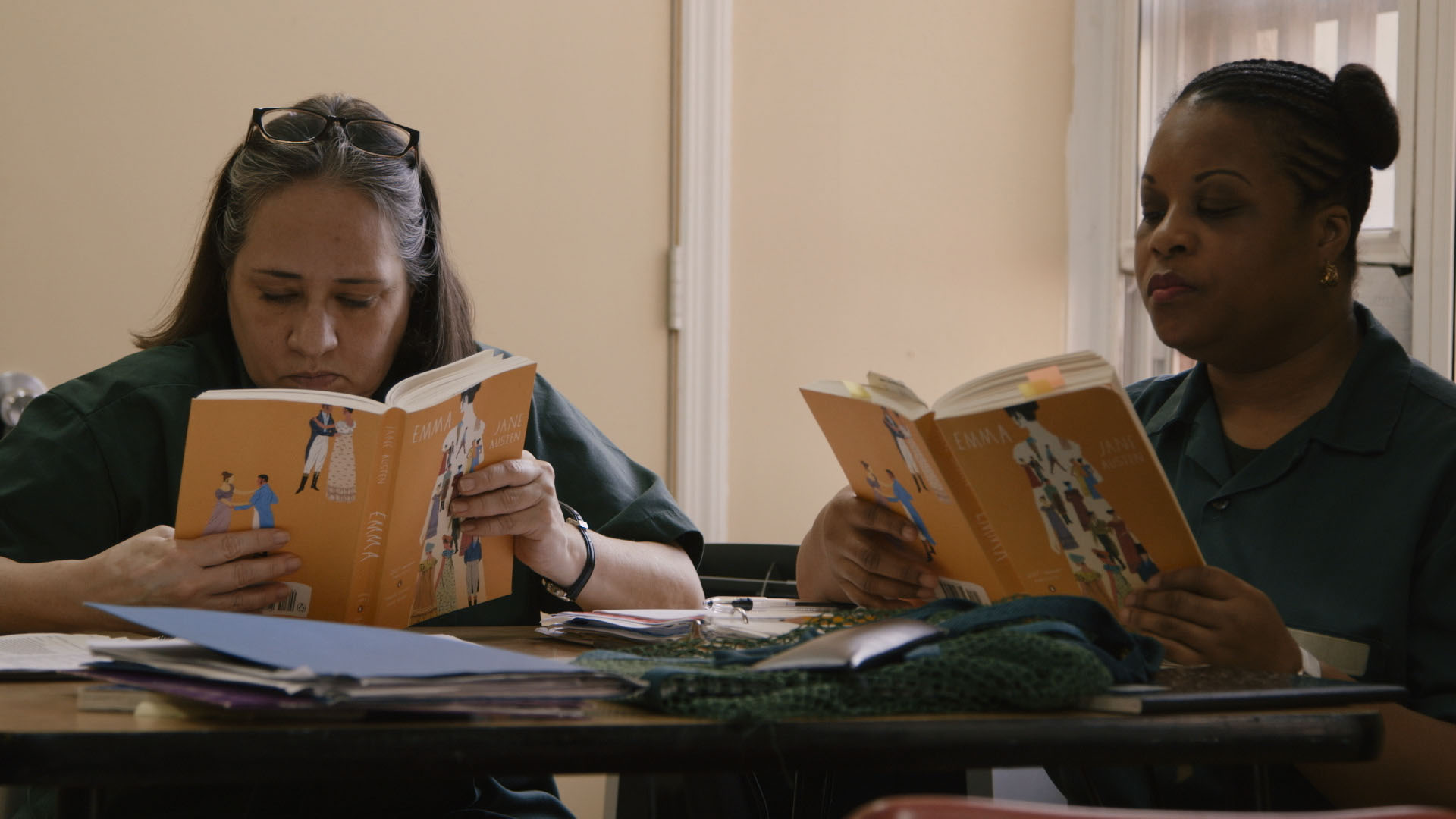 Bard Prison Initiative (BPI) students in a literature seminar at Taconic Correctional Facility. (Skiff Mountain Films)
