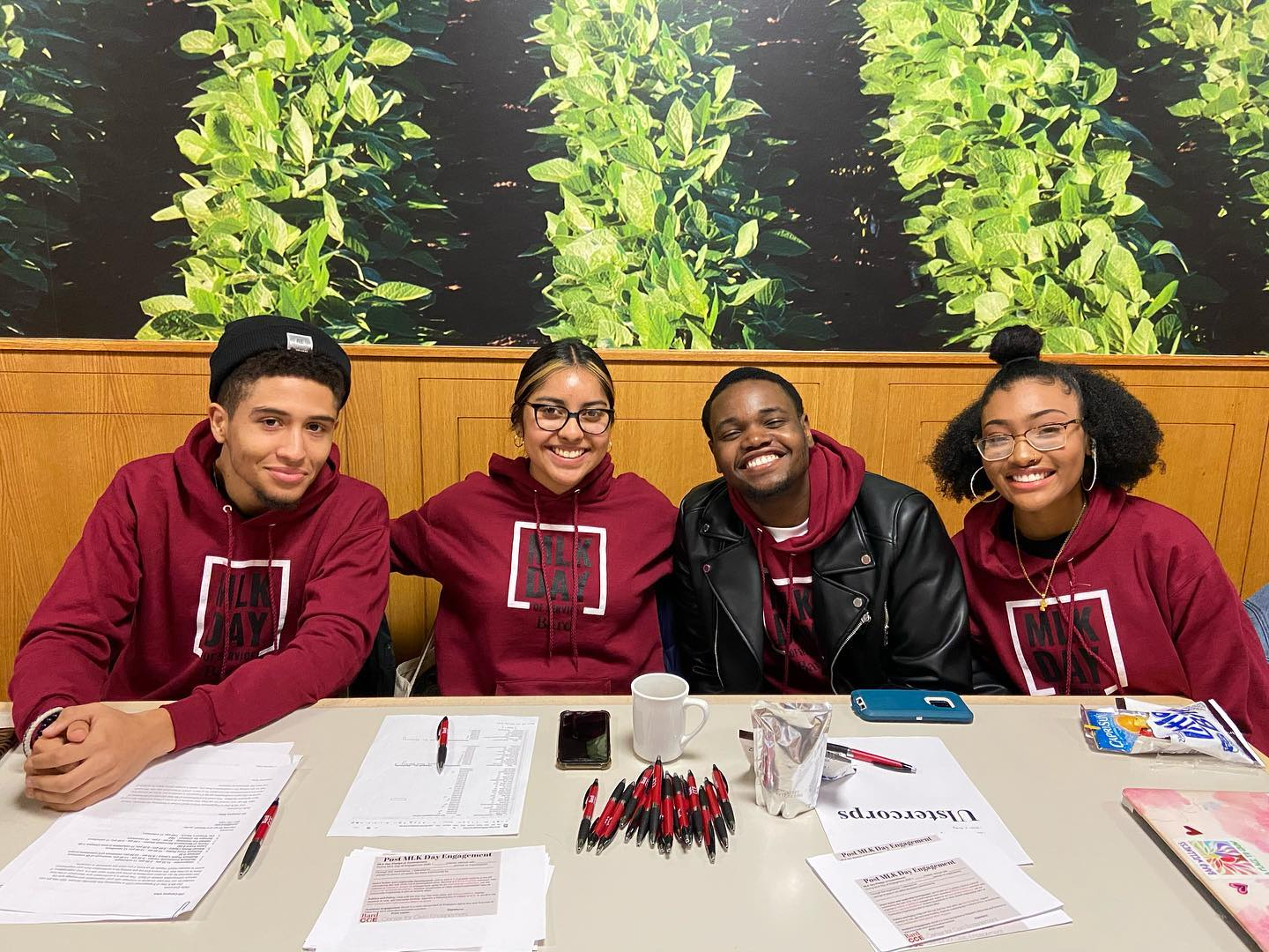 MLK Day student team checks in Bard volunteers on Saturday morning, January 18, in Kline Commons.