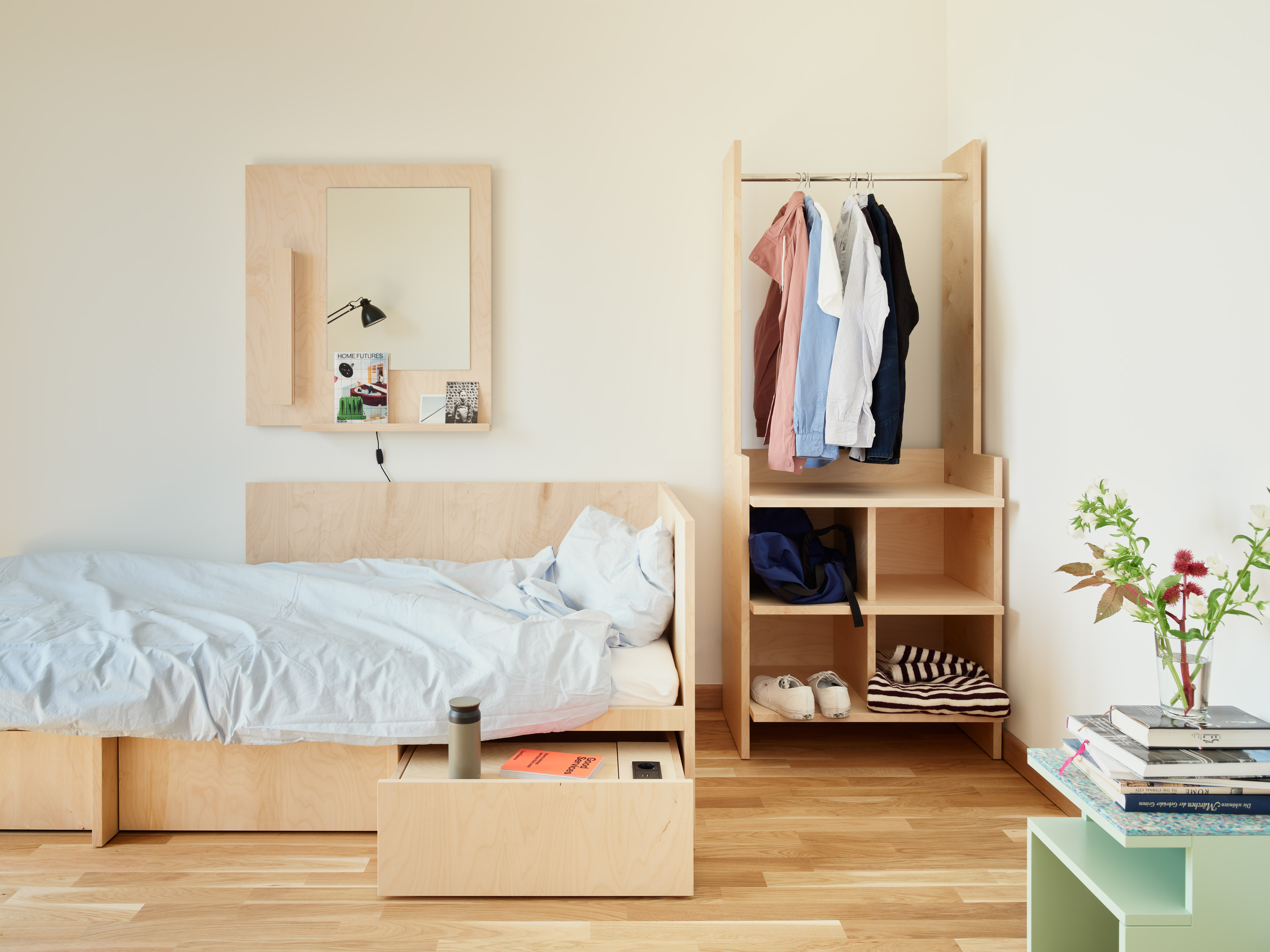 Bed and Wardrobe in Student Residence