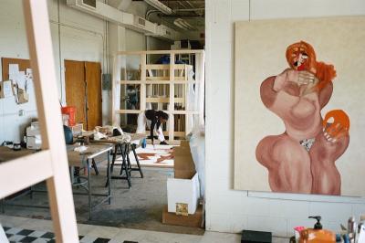 Tschabalala Self in her studio. Photo byChristian DeFonte