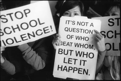 Students protesting in the wake of anti-Asian attacks at South Philadelphia High School in 2009. Courtesy of Harvey Finkle
