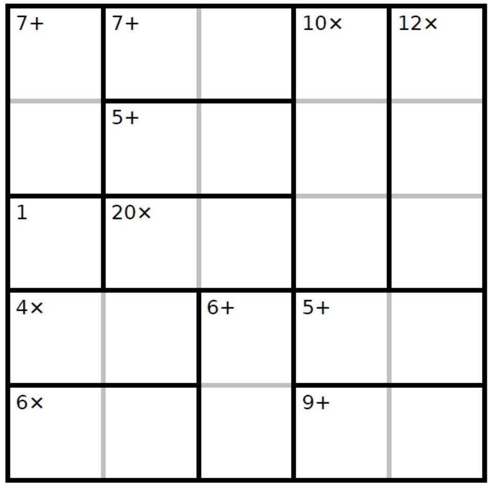 Juego D: Completa esta grilla de 5x5 de KenKen con los números 1, 2, 3, 4 y 5. Cada número aparece una sola vez en cada fila y en cada columna. Los números en cada región, al combinarlos con la operación dada, dan por resultado el número que se muestra en pequeñito.