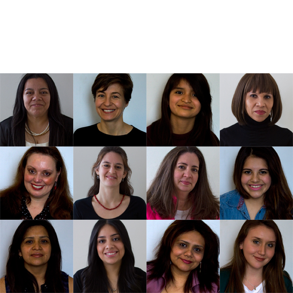 De izquierda a derecha: Rocio Balbuena, Inma Donaire, Brenda Palma, Mercedes Torres, Jenny Hernández, Autumn Florencio-Wain, Annette Marzán, Katia Pérez, Adriana Palma, Laura García, Laura Labastida y Julieth Núñez.