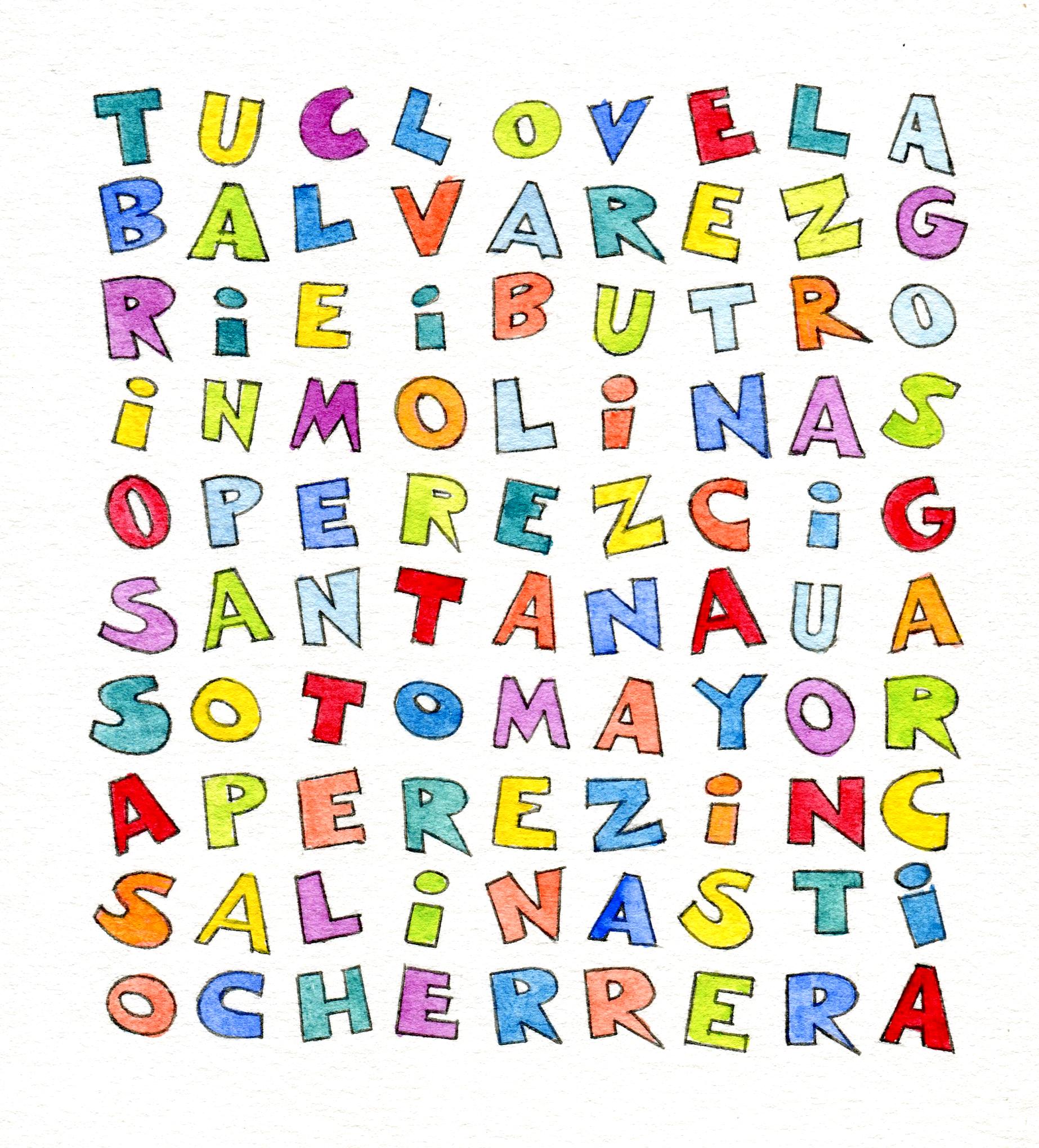 A ver si descubres a los hispanounidenses famosos en esta sopa de letras. Ilustración de María Cristina Brusca