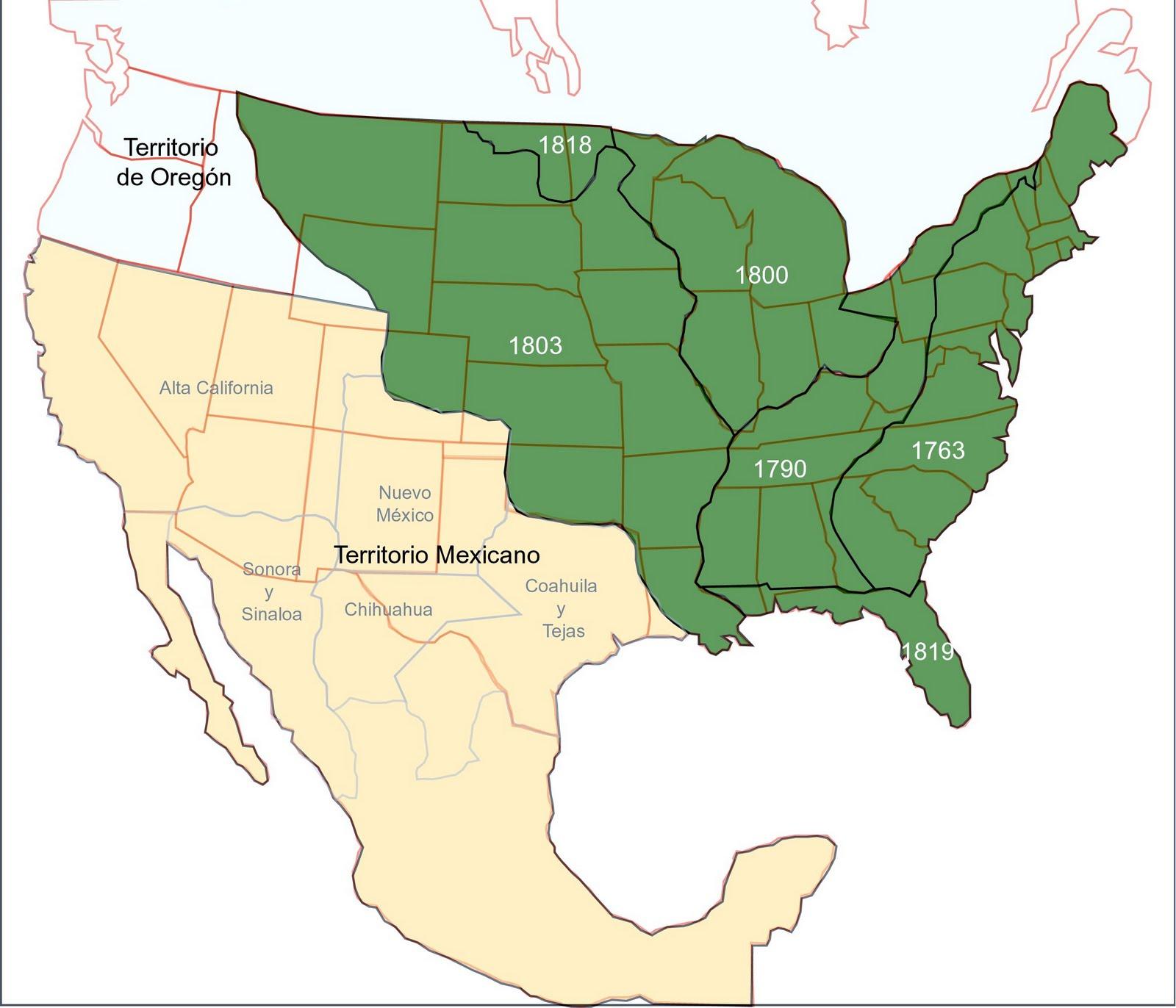 Mapa del territorio mexicano antes de la guerra con Estados Unidos