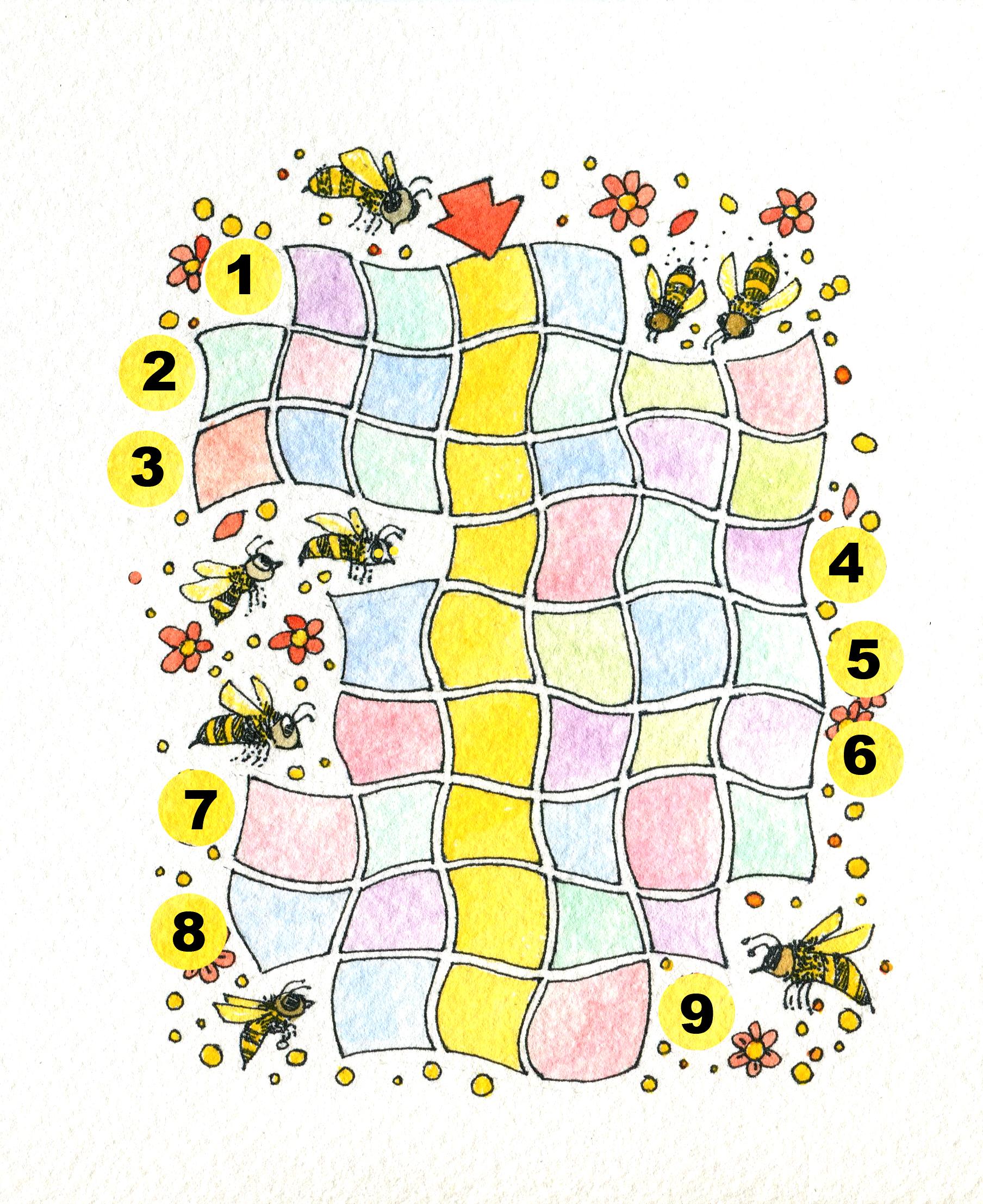 """La palabra escondida, para jugar en familia: Escriban en la grilla las 9 palabras deletreadas. En la columna central encontrarán la palabra que completa esta frase: """"Los chicos que deletrean son verdaderos  _  _  _  _  _  _  _  _  _  """". Ilustración de María Cristina Brusca"""
