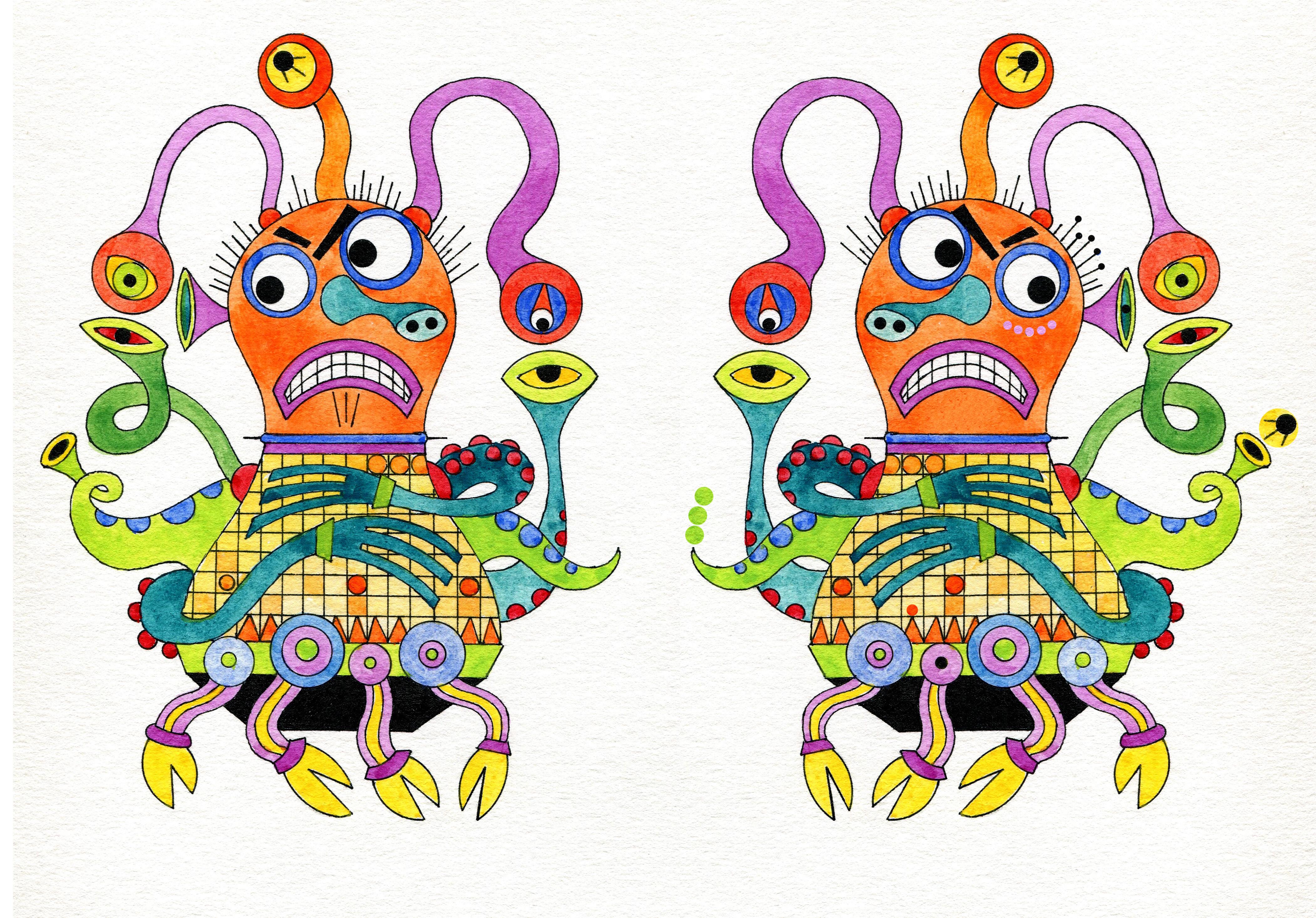 Encuentra las 10 diferencias entre estos virus que enloquecen a nuestras computadoras. Ilustración de Cristina Brusca