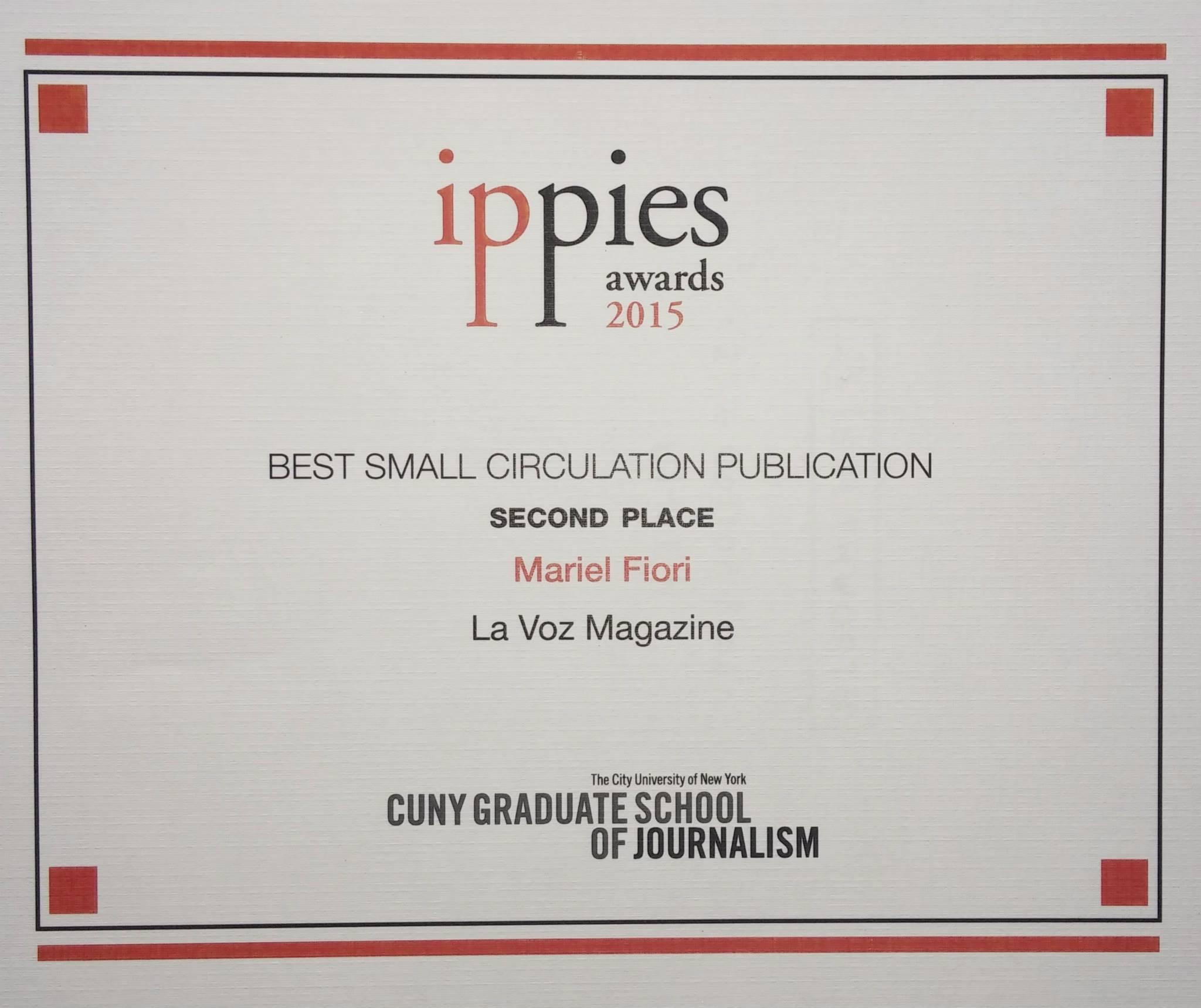 Premio IPPIE otorgado a La Voz