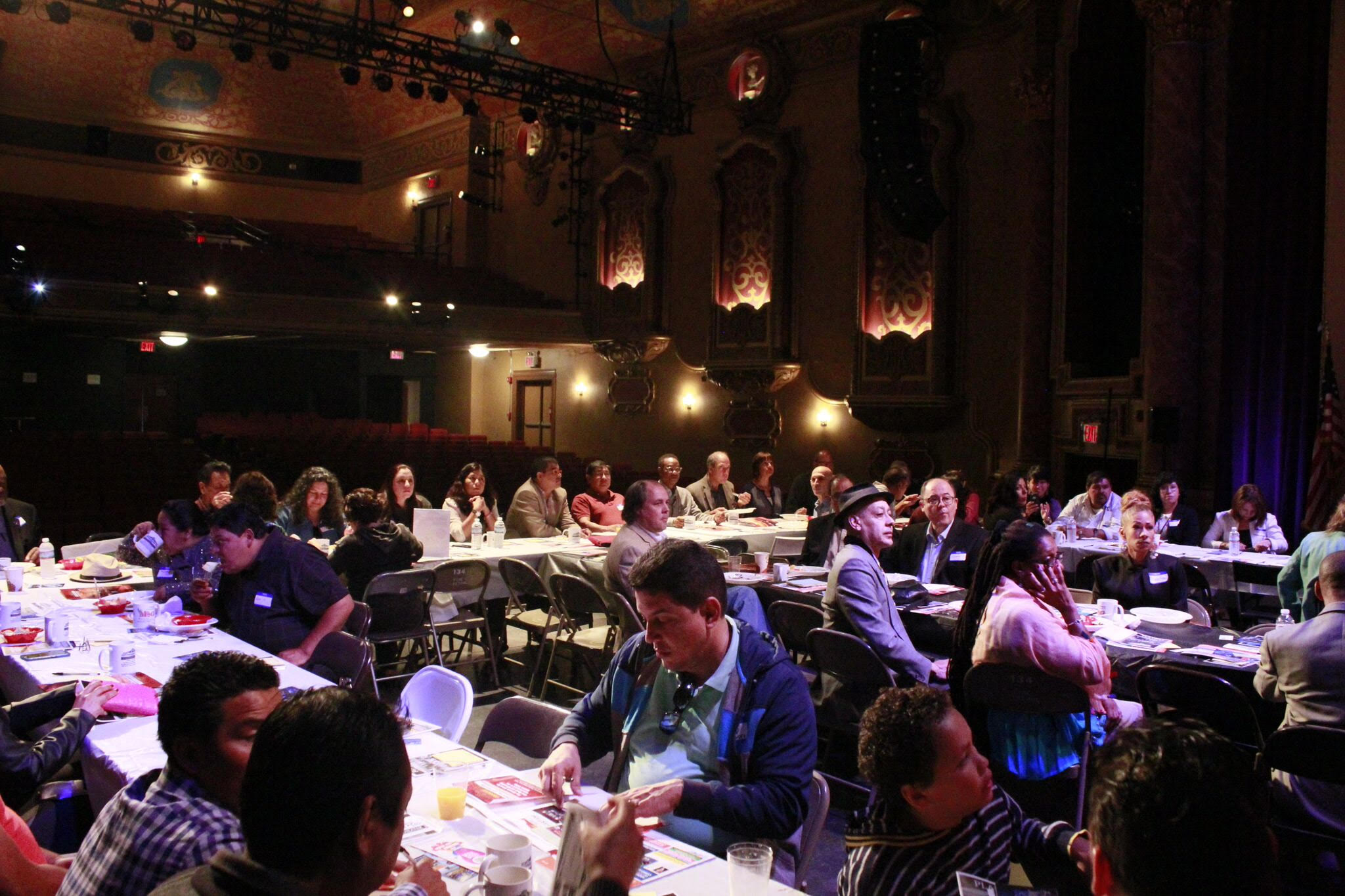 Latino communities meeting at the Paramount Theatre, Peekskill. Photo by Fred Romer