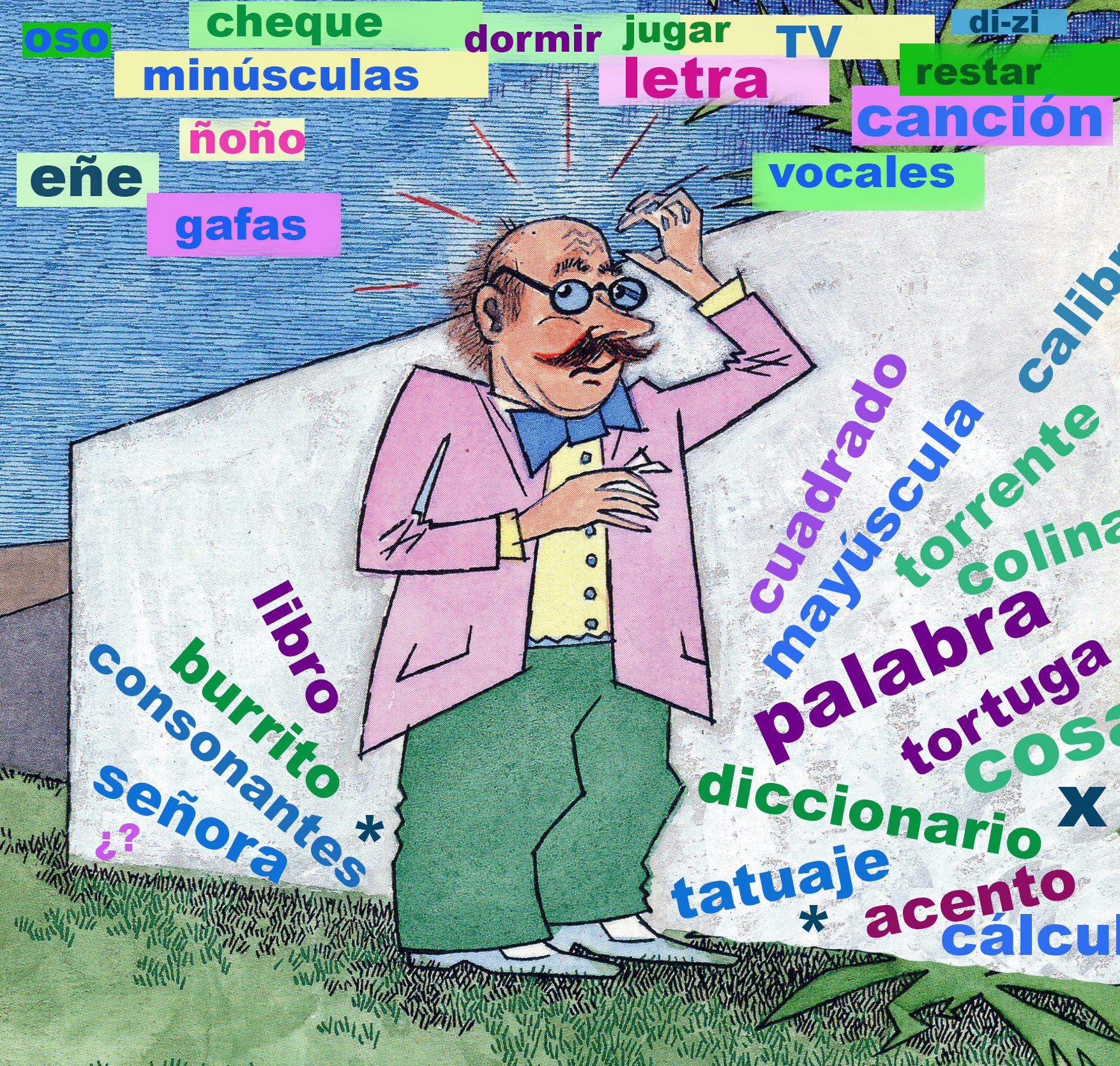 <strong>El lío de palabras del profesor DiZi:</strong> Ayúdalo a encontrar las 10 palabras relacionadas con el deletreo. Ilustración de María Cristina Brusca