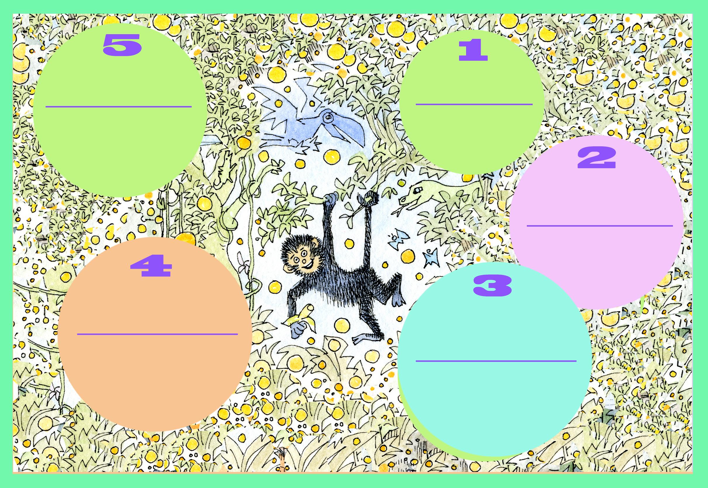 El monito araña te desafía, ilustración de María Cristina Brusca