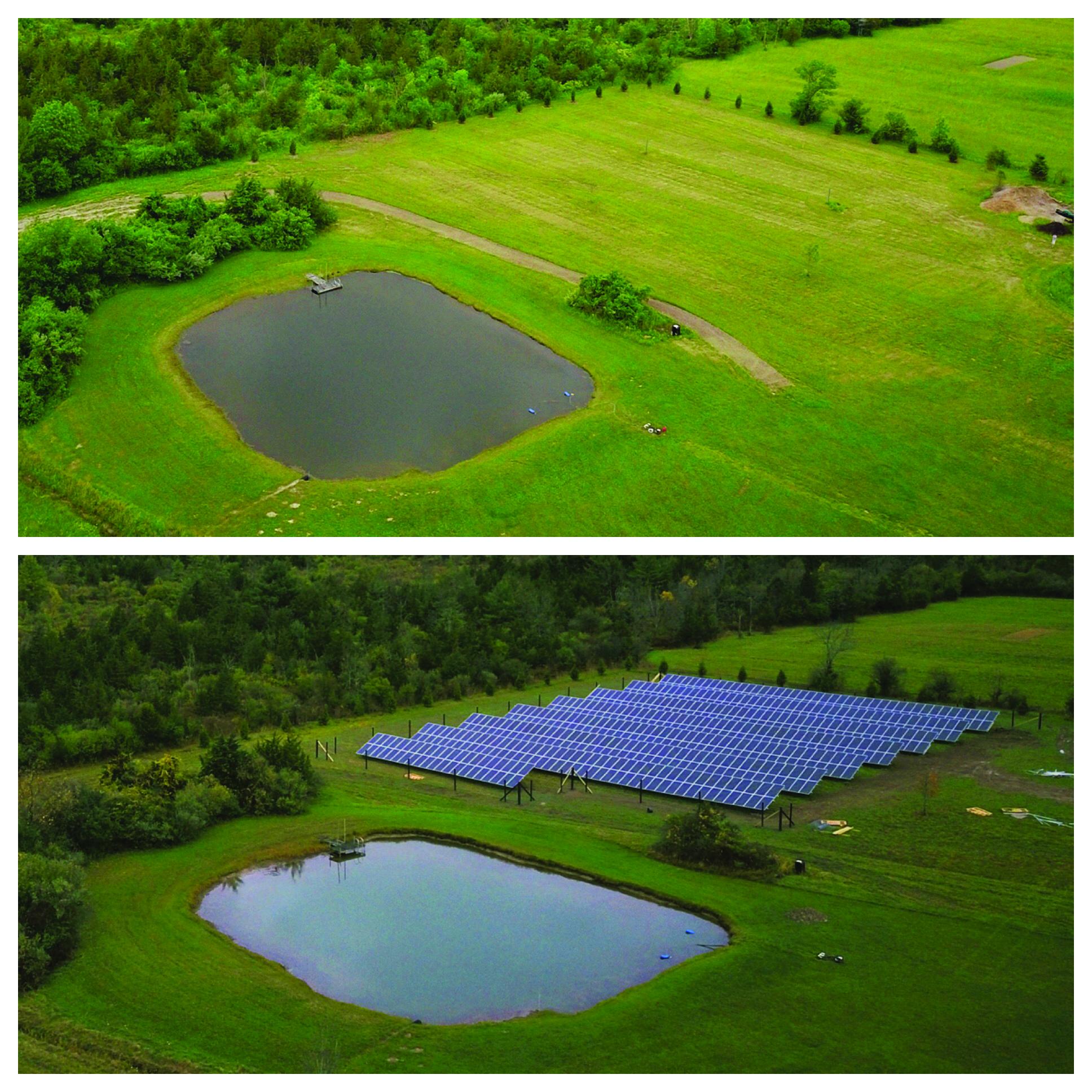 Foto de Garrett Lee, proyecto de comunidad solar en el condado de Columbia, antes y después