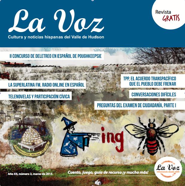 Imagen de la tapa de La Voz de abril 2015 por el artista residente de Poughkeepsie, Franc Palaia.
